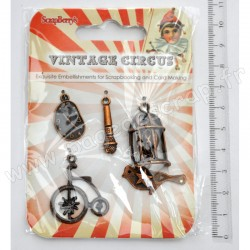 SCRAPBERRY'S CHARMS METAL VINTAGE CIRCUS 4 pièces