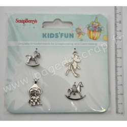 SCRAPBERRY'S CHARMS METAL KID'S FUN 4 pièces