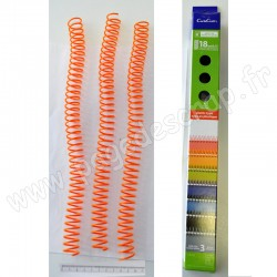 CARLACRAFT 3 SPIRALES EN PLASTIQUE POUR RELIURE ORANGE