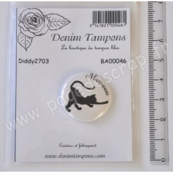 DENIM TAMPONS BADGE CHAT MIAOU