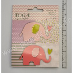TOGA 20 FORMES DECOUPEES ELEPHANTS ROSE VERT TAUPE