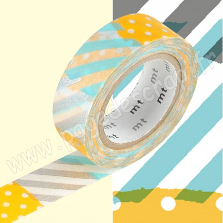 MT MASKING TAPE 15mm x 10m MOTIF POIS RAYURES BLEU ORANGE TSUGIHAGI H
