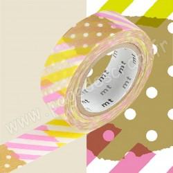 MT MASKING TAPE 15mm x 10m MOTIF POIS RAYURES ANIS ROSE TSUGIHAGI