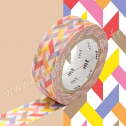 MT MASKING TAPE 15mm x 10m MOTIF ENTRELACS MULTICOLORESLASH RED