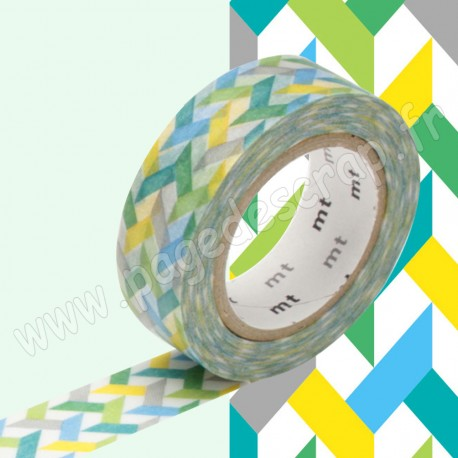 MT MASKING TAPE 15mm x 10m MOTIF ENTRELACS MULTICOLORES SLASH GREEN