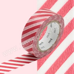 MT MASKING TAPE 15mm x 10m MOTIF RAYURES ROUGE