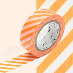 MT MASKING TAPE 15mm x 10m MOTIF RAYURES ORANGE