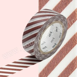 MT MASKING TAPE 15mm x 10m MOTIF RAYURES CAFE AU LAIT