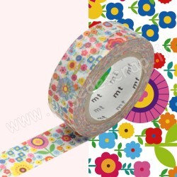 MT MASKING TAPE 15mm x 10m MOTIF LIBERTY FLEURS MULTICOLORES
