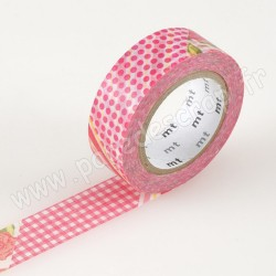 MT MASKING TAPE 15mm x 10m MOTIF FLOWER RED
