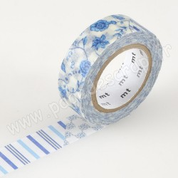 MT MASKING TAPE 15mm x 10m MOTIF FLOWER DARK BLUE