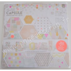 DOCRAFTS BLOC 36 FEUILLES CAPSULE COLLECTION GEOMETRIC NEON 30 cm x 30 cm
