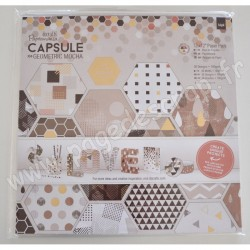 DOCRAFTS BLOC 36 FEUILLES CAPSULE COLLECTION GEOMETRIC MOCHA 30 cm x 30 cm