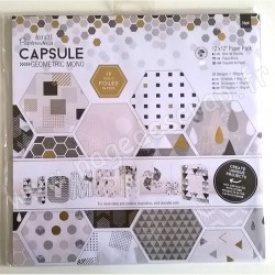 DOCRAFTS BLOC 36 FEUILLES CAPSULE COLLECTION GEOMETRIC MONO 30 cm x 30 cm