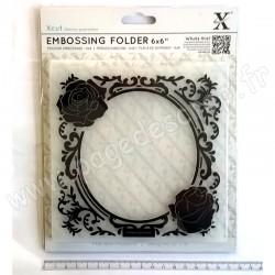 DOCRAFTS EMBOSSING FOLDER CADRE ROSE 15 cm x 15 cm