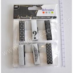 ARTEMIO BOIS 6 PINCES EPOXY BLACK & WHITE