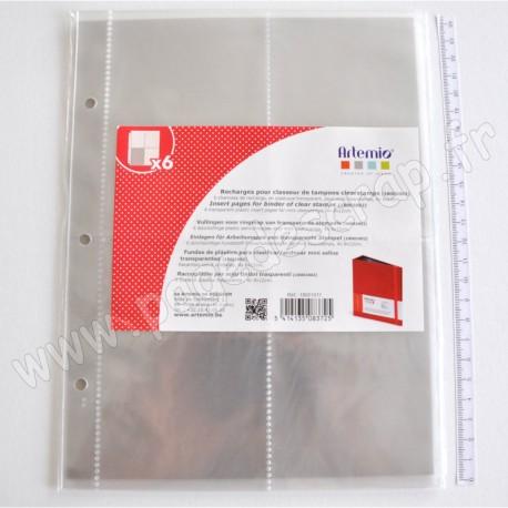 ARTEMIO RECHARGE 6 POCHETTES POUR CLASSEUR DE TAMPONS TRANSPARENTS 4x 8x12cm