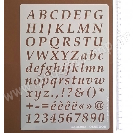 PAGE DE SCRAP POCHOIR A5 ALPHABET OLDBOOK