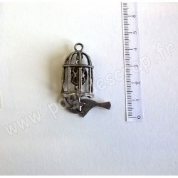 SCRAPBERRY'S CHARMS BIRDCAGE WITH A PENDANT SILVER 29 x 45 mm