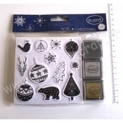 ALADINE STAMPO NOEL CONSTELLATION 12  tampons + 3 encreurs