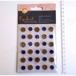 DOCRAFTS FOREVER FRIENDS STRASS ADHESIFS OPULENT NAVY & COPPER 30 pièces