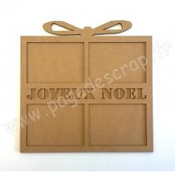 PDS CADRE BOIS CADEAU JOYEUX NOEL  3 mm 30 cm x 30 cm