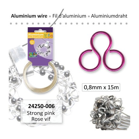 ALU WIRE 0.8MM 15M STRONG PINK