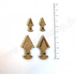 PDS SUJET BOIS FLIPETTES TRIANGLES BALANCIER 3 mm COLLECTION FLIPETTES 4 pièces