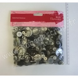 DOCRAFTS PAPERMANIA BOUTONS ASSORTIS (250gr) MONOCHROME