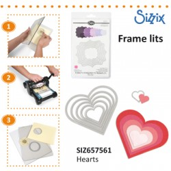SIZZIX FRAMELITS DIE SET 6PK HEARTS