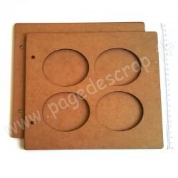 PDS ALBUM BOIS 22 x25 cm 4 OVALES