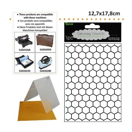 EMBOS TEMPLATE 12.7X17.8CM HONEYCOMB