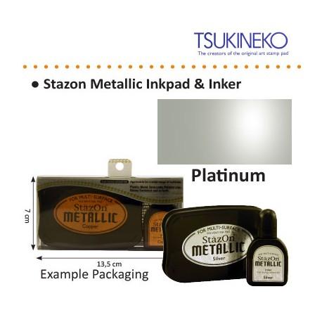 STAZON METALLIC INK  PAD & INKER PLATINUM