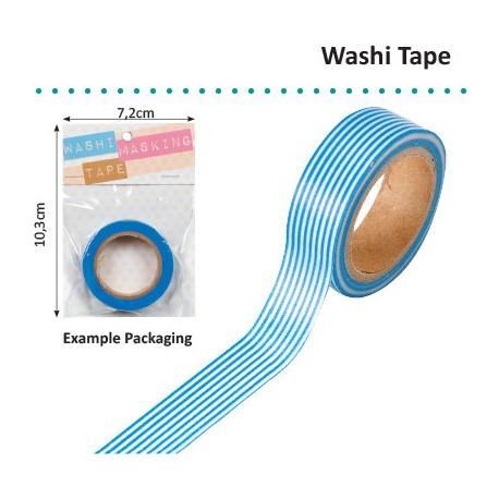 WASHI TAPE 15MMX8M WHITE WITH BLUE