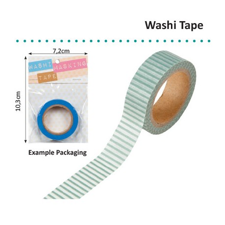 WASHI TAPE 15MMX8M GREEN WITH WHITE
