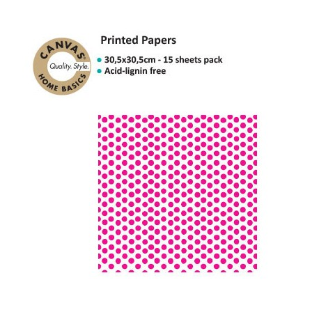 CANVAS CORP PRINTED PAPER HOT PINK WHITE DOT