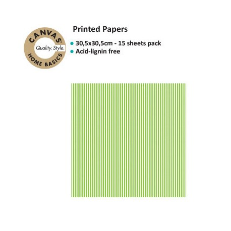 CANVAS CORP PRINTED PAPER LIME GREEN WHITE RIBBON