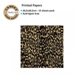 CANVAS CORP PRINTES PAPER BLACK KRAFT LEOPARD