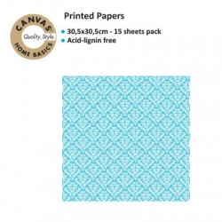 CANVAS CORP PRINTED PAPER TURQUOISE WHITE DAMASK