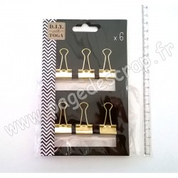 TOGA 6 MOYENNES PINCES CLIPS OR