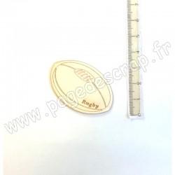 PDS SUJET BOIS FIN 1mm  BALLON DE RUGBY COLLECTION SPORT