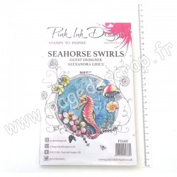 CREATIVE EXPRESSIONS PINK INK CLEAR STAMP SEAHORSE SWIRLS