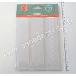 ARTEMIO SET 3 PLAQUES D'EMBOSSAGE 3cm x 15cm