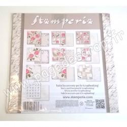 STAMPERIA LETTERS & FLOWERS 10 feuilles R/V 30.5 cm x 30.5 cm 170 gr