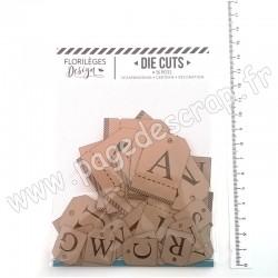 FDDC220002   FLORILEGES DESIGN DIE-CUTS ÉTIQUETTES ALPHABET KRAFT (x 56 pièces)