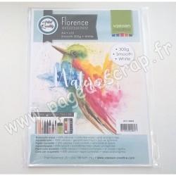 2911-8003   FLORENCE PAPIER AQUARELLE SMOOTH WHITE 300 g A4   x10 feuilles