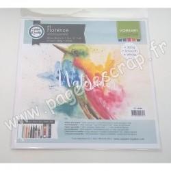 2911-8004   FLORENCE PAPIER AQUARELLE SMOOTH WHITE 300 g 30.5 cm x 30.5 cm  x5 feuilles