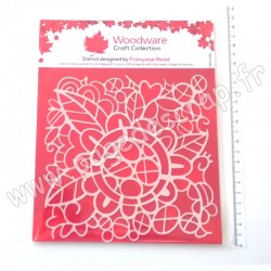 FRST045   CREATIVE EXPRESSION WOODWARE STENCIL FLOWER DOODLE