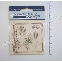 SCB01   STAMPERIA DECORATIVE CHIPS FLOWERS AND BUTTERFLY 9.5cm x 9.5cm