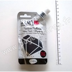 80323   ALADINE IZINK DIAMOND GLITTER PAINT 24 CARATS 80 ml BLACK